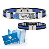 Silicone Designer Medical ID Bracelet (incl. 6 lines of custom engraving). Choose Your Color! (Black / Blue (small inset))