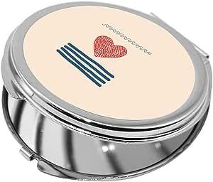 مرآة جيب، شكل دائري، بتصميم شبكة صيد بشكل قلب