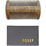 EQLEF® Beard wooden comb, Green sandalwood no static handmade comb, mustache wood comb