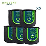 OPULENT SYSTEMS 5-Pack Heavy Duty Aeration Fabric Grow Bags Thickened Nonwoven Fabric Containers for Potato/Plant Pots with Handles (Black) ...