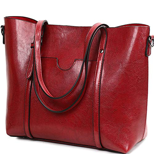 Women Lightweight Leather Backpack Black Purse Versatile Classic Fashion PU Leather (red)