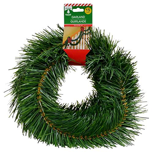 Pine Garland Green - Merry Christmas Soft Pine Garland Celebrate a Holiday Decor 15 feet Decorative Green Outdoor or Indoor Use Non lit Home Garden Porch Stair Hanging Artificial Greenery Wedding Party Doorway Decorations