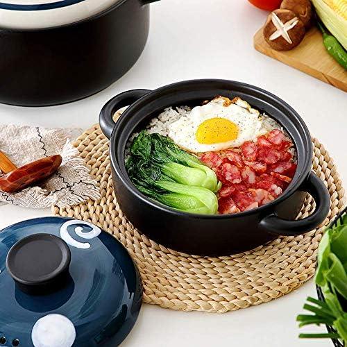 LEILEI Cocotte de Riz en Argile Japonaise,Casserole de Pot de ragoût de ménage Peint à la Main,Pot de Soupe en céramique Petites gouttelettes d'eau de cocotte 1,5 Litre