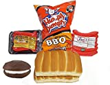 Box of Maine Cookout Combo Pack with Red Hot Dogs Chocolate Whoopie Pie Humpty Dumpty Chips and New England Split Top Rolls