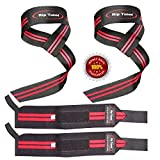 Lifting Straps + Wrist Wraps Bundle (1 PAIR of Each) by Rip Toned - *Bonus Ebook* for Weightlifting, Xfit, Workout, Gym, Powerlifting, Bodybuilding - Lifetime Replacement Warranty!