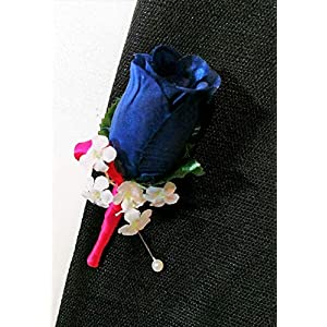 Navy Blue (Marine) Rose & Hot Pink (Begonia) Ribbon Boutonniere Wedding Or School Prom Flowers Boutonnieres Corsages 116