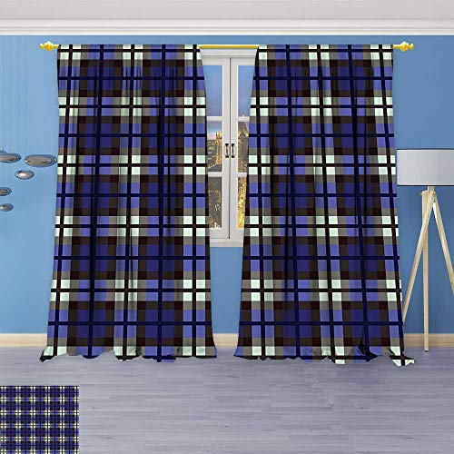 Philiphome 2 Panel Set Digital Printed Window Curtains,Decor Scottish Themed Kilt Skirt Pattern Squares Checkers Design White Blue Grey and for Bedroom Living Room Dining Room