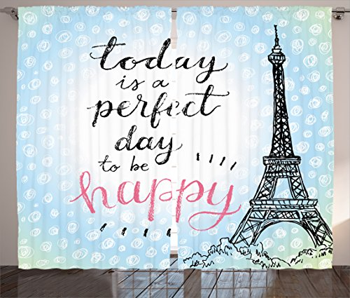 Ambesonne Eiffel Tower Decor Curtains, Perfect Day Eiffel Tower Polka Dot Handwriting Typography Sketch Print Paris Decor, Living Room Bedroom Decor, 2 Panel Set, 108 W X 84 L Inches, Blue Black