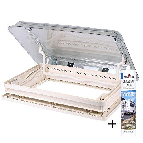 Dometic - Dekalin Midi Heki 70x 50 Roof Thickness 30-34 mm Straight Ventilation and Dekalin sealant for RV, Caravan or Camper