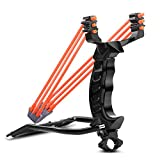 MoreFarther Professional Slingshot Stainless Steel Outdoor Hunting Sling Shot High Velocity Catapult with 2 Rubber Bands and 200 Extra Slingshot Ammo