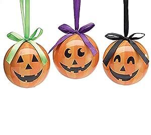 Jack O Lantern Pumpkin Halloween Ornaments Set of 6