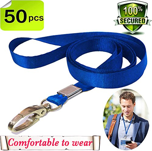 Bulk Lanyard Blue Lanyards for Id badges lanyards with clip Nylon Neck Flat Lanyards Swivel Hooks clips Great for Key Chains Office ID Name Tags and Badge Holders Durably Woven Lanyards 50 pack(Blue) Blue Nylon Lanyard