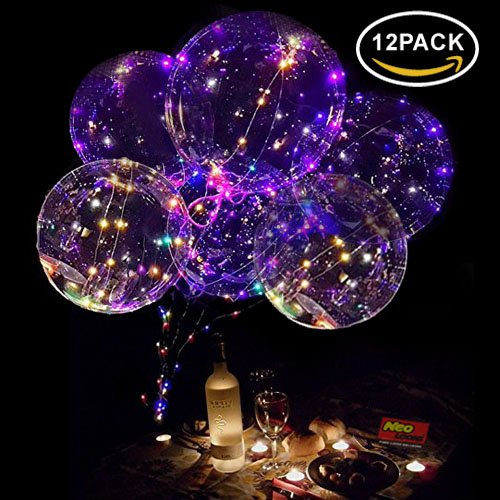 Neo LOONS 18 Inch LED Light Up Balloons LED Bobo Balloons Helium Balloons for Birthday,Wedding,Christmas Party Decorations,Colorful 12 -