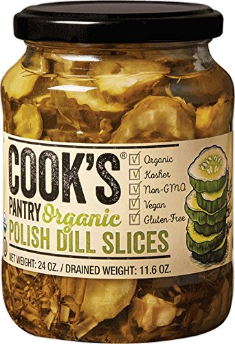 Pickled Pantry Pickles (COOK'S PANTRY, PICKLES, OG2, DILL, SLICES, Pack of 6, Size 24 OZ - No Artificial Ingredients Gluten Free Kosher Vegan Wheat Free Yeast Free 95%+ Organic)