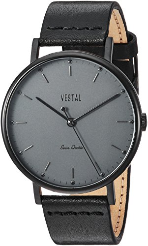 Vestal 'Sophisticate' Swiss Quartz Stainless Steel and Leather Dress Watch, Color:Black (Model: SP42L09.BK)