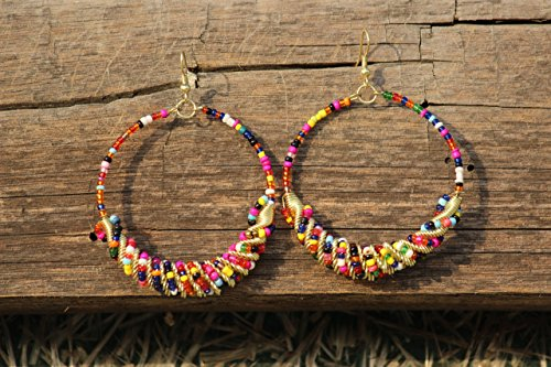 TRIBESMANGOLD--Handmade Turquoise Frisco Inspired MULTICOLOR-GOLDEN Color Seed Bead Hoop ()