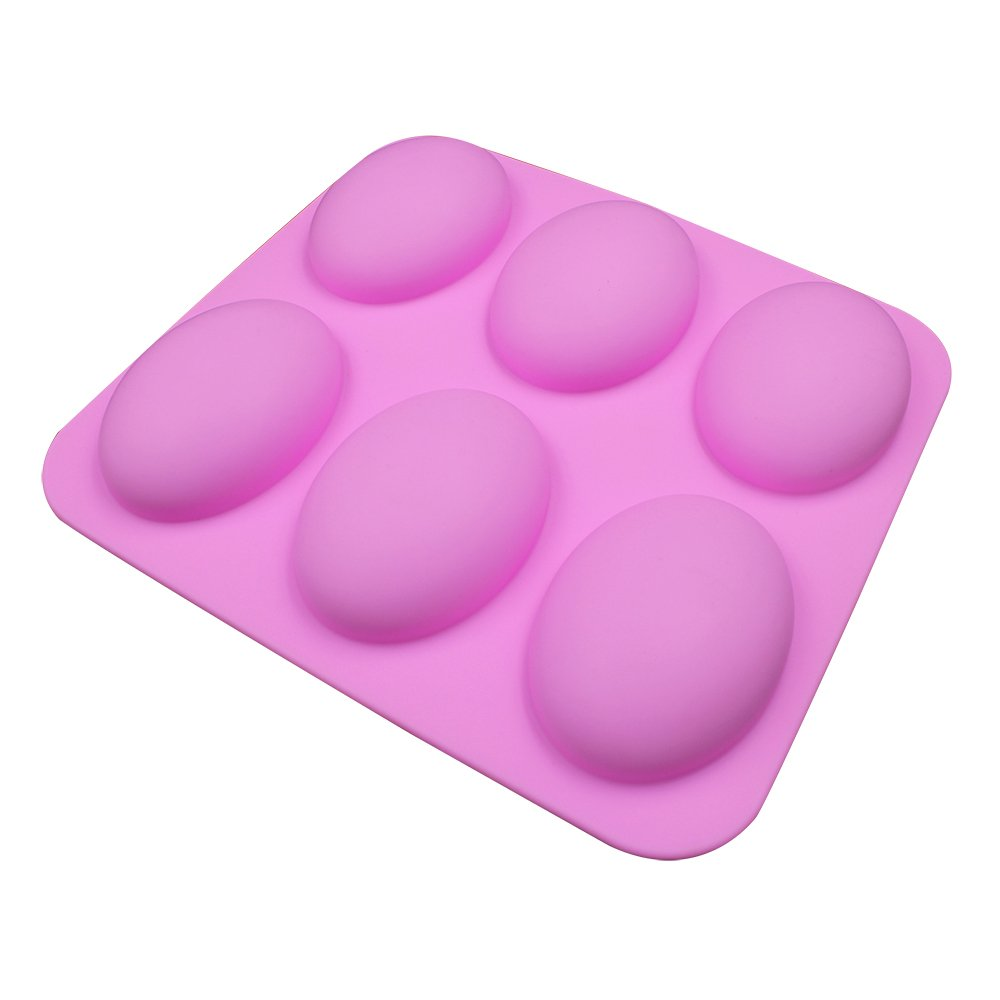 BAKER DEPOT silicone Mold For Handmade Soap 6 Cavity Goose egg Design Pink Color CDSM-585