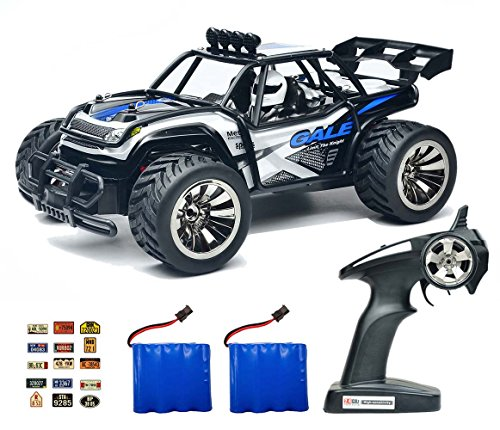 ROCKAR Electric RC Car Off Road 1:16 Scale RC Monster Truck 2.4GHz Radio Remote Control Car 2WD High Speed Rock Crawler with 2 Rechargeable Battery and 45 PCS Stickers (Red) (Blue)