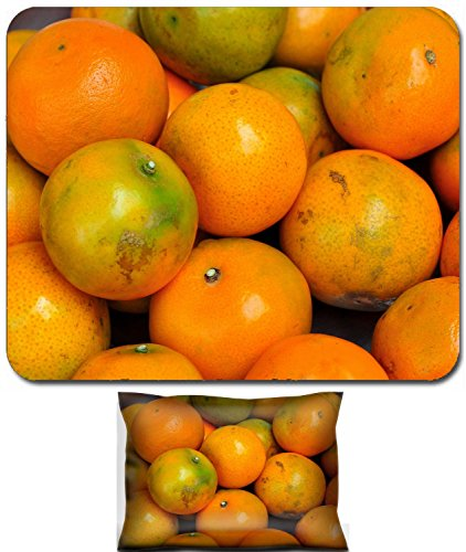 Luxlady Mouse Wrist Rest and Small Mousepad Set, 2pc Wrist Support design Orange is a fruit that many people know very well the has high vitamin C content IMAGE: 26052715