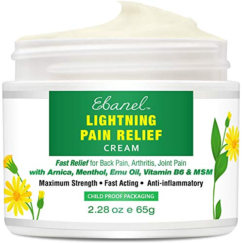 Pain-Relief-Cream-Arnica-Emu with MSM, Menthol, Anti Inflammatory Cream with Camphor, Boswellia, Vitamin B6, Fast Relief for Back Pain, Arthritis, Neck Shoulder Joint Muscle Pain, 2.28 Oz
