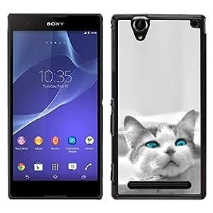 TopCaseStore / la caja del caucho duro de la cubierta de protección de la piel - The Blue Eye Cat - Sony Xperia T2 Ultra