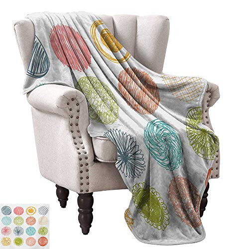 Anyangeight Throw Blanket,Collection of Doodle Style Scribble Circles Stripes Childish Joyful Illustration 60