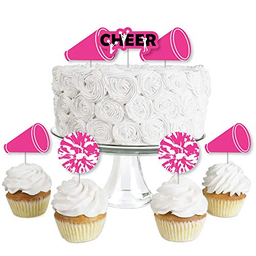 We Got Spirit - Cheerleading - Dessert Cupcake Toppers - Birthday Party or Cheerleader Party Clear Treat Picks - Set of 24 -