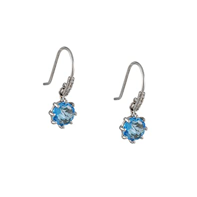 1f8cbb5ad95a Image Unavailable. Image not available for. Color  SUZANNE KALAN - Blue  Topaz Drop Earrings in White Gold with Micropave Hooks