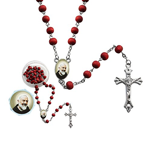 St. Padre Pio Red Scented Rosary (12 PCS) with Organza Gift Bag ()