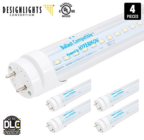 Hyperikon T8 T10 T12 LED Light Tube, 4FT, Dual-End Powered, Easy Ballast Removal Installation, 18W (48W equivalent