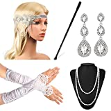 Beelittle 1920s Accessories Headband Earrings Necklace Gloves Expandable Cigarette Holder (B)