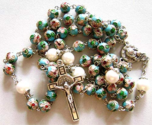 elegantmedical Handmade Nice Blue Cloisonne & 10mm Pearl Beads Rosary Necklace Italy St.Benedict Cross