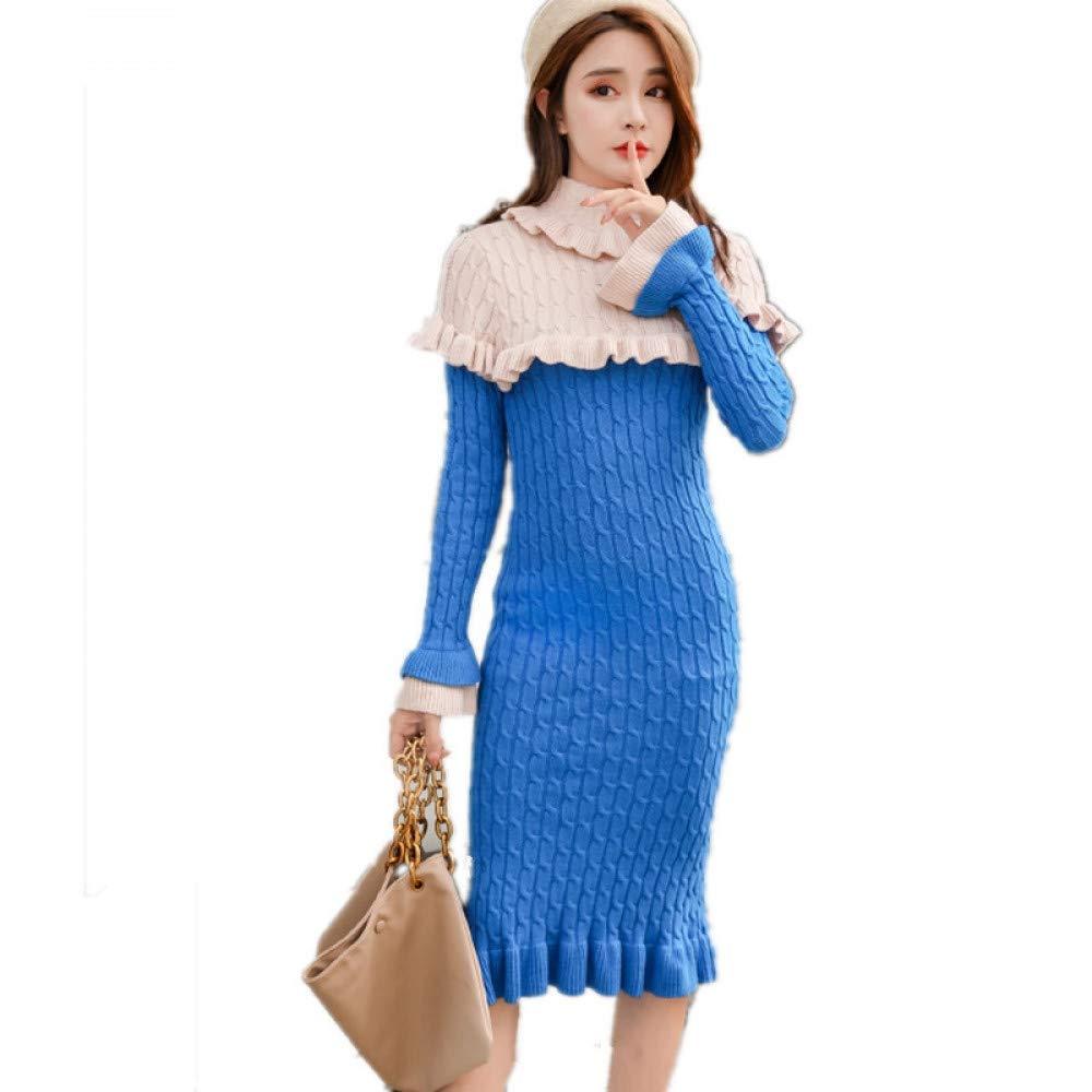 bluee Cxlyq Dresses Autumn Winter Women Turtleneck Collar Warm Knitted Dress Ruffles Patchwork Female Elegant Sweater Dress Casual Jumper