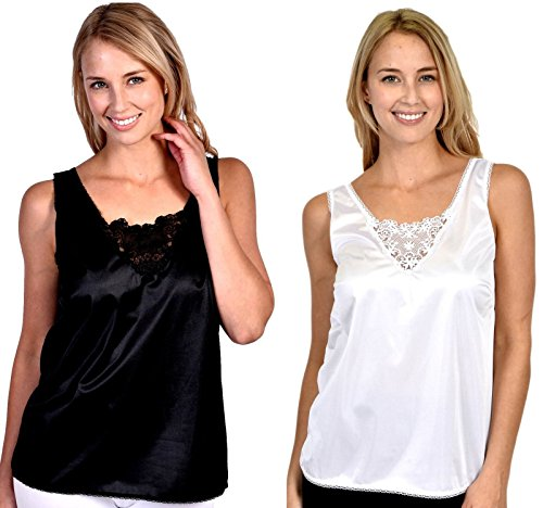 Patricia Lingerie Women's Anti-Static Camisole with Elegant Lace 2-Pack (White/Black, - Slip Camisole Nylon