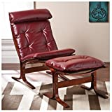 Ruby Red Leather Lounger Chair and Ottoman Curve Wood Frame Review