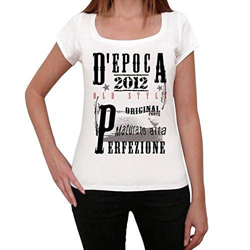 2012, camiseta cumpleaños, camiseta regalo, vintage camiseta blanco