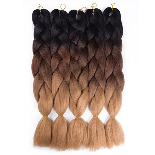 Refined Products Ombre Crochet Braids Braiding Hair 24inch Synthetic Kanekalon Jumbo Box Braids Hair Extensions 5 packs (Black/Brown/Light Brown)
