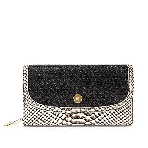 Eric Javits Luxury Fashion Designer Women's Handbag - Clutch Wallet - Black/Bone Mix by Eric Javits