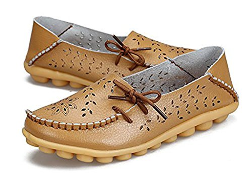 Auspicious beginning Hollow Out Loafers Moccasins Causal Flats Boat Shoes For Women Brown zDPfvcyJ