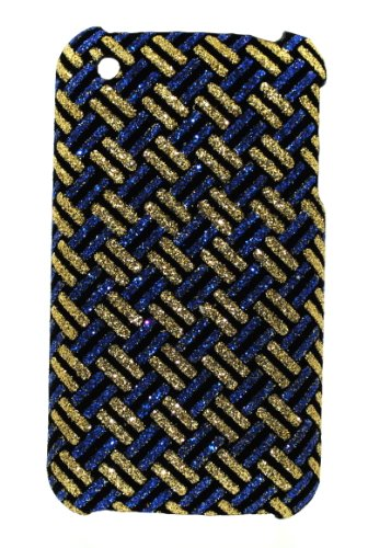 (Gold & Blue Checker Glitter Design Hard Protector Back Case Cover for Apple Iphone 3 3g 3gs)