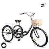 """HIRAM Adult Tricycle, 24""""/26"""" Wheels Trike with Low Step-Through Steel Frame, Front and Rear Fenders, Single Speed, Large Cruiser Seat, Rear Basket and Bicycle Bell"""