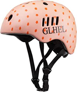 GLHEL Skateboard Helmet Impact Resistance Safe Helmet Multi Sport for Bike, Skates, Skateboards & Scooter Certified CPSC Adult&Kids Adjustable Dial Helmet with Multiple Colors&Sizes (Pink, Small)