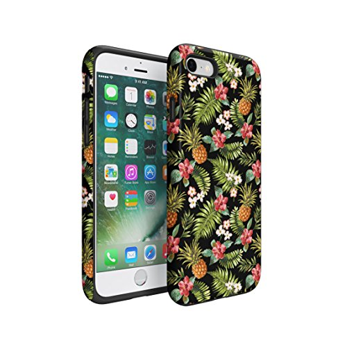 Tropical Pineapple, Hibiscus Flowers & Tropical Jungle Pattern Double Layer Hard PC Armor & Shock Absorbing TPU Tough Cover Shell For iPhone 7 (Jungle Patterns)