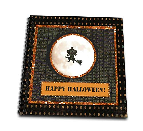 (3dRose db_167435_2 Little Witch Flying Across Moon, Trick Or Treat, Dots, Happy Halloween Memory Book, 12