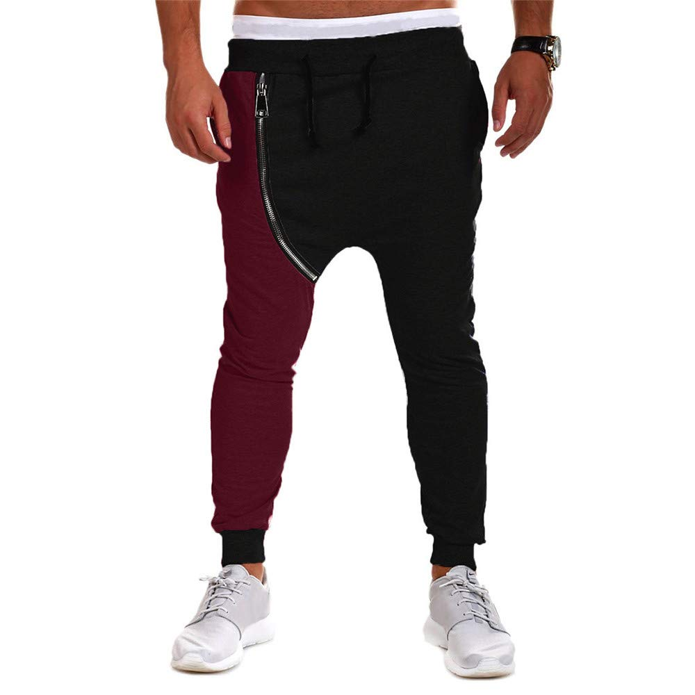 PASATO Clearace Sale! Men's Casual Autumn Winter Cotton Zipper Hip Hop Trousers Joggers Harem Pants(Black, M) by PASATO (Image #2)