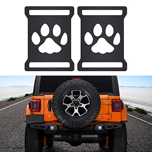 Taillights Covers Tail Light Guard Rear Light Protector Cover Trim Matte Black Exterior Accessories for 2018 2019 Jeep Wrangler JL JLU (Dog Paw Style)