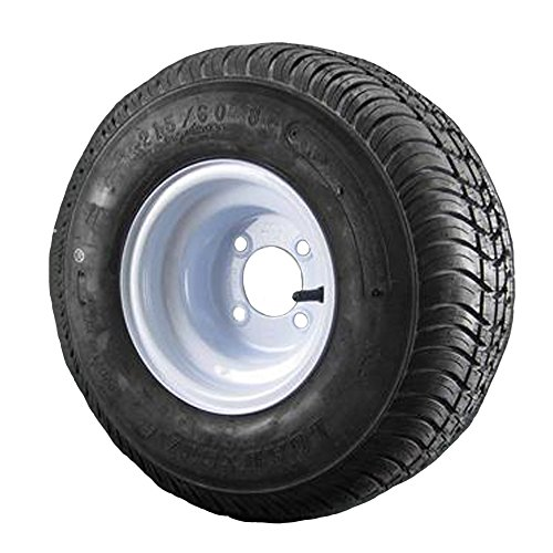 18.5X8.5-8 Loadstar Trailer Tire LRC on 4 Bolt White Wheel