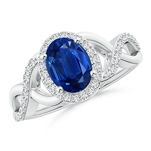 Angara Diamond Halo Blue Sapphire Crossover Engagement Ring in Platinum