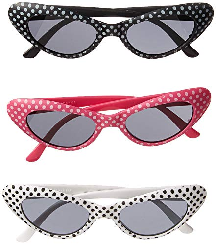 Rhode Island Novelty Retro Polka Dot Cat Eye Sunglasses (1 dz) -