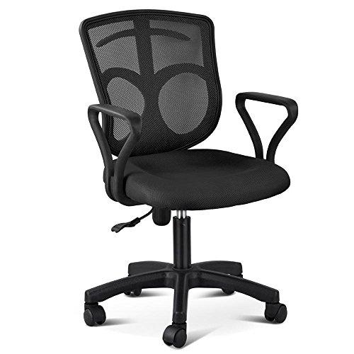 Yaheetech Adjustable Mid-Back Swivel Office Desk Chair (Black, Style 2)
